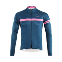 ARSUXEO Spring Autumn Cycling Jersey Long Sleeve Men Breathable Quick Dry MTB Bicycle Clothing Shirts Roupas Ciclismo Blue Pink
