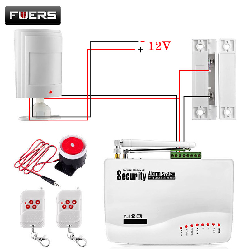 burglar alarm pir wiring diagram minn kota riptide 55 gsm system for home security with wired pir/door sensor dual antenna ...