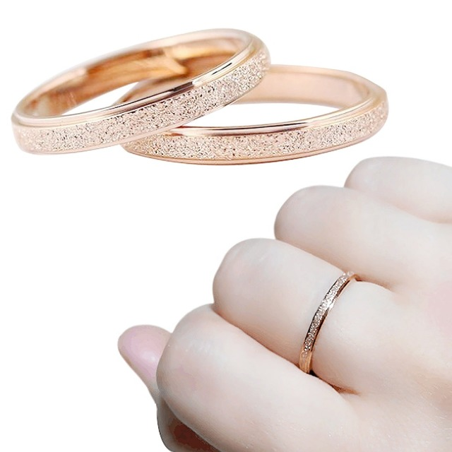 2mm Rose Gold Frosted Titanium Steel Wedding Band Ring Men Womens