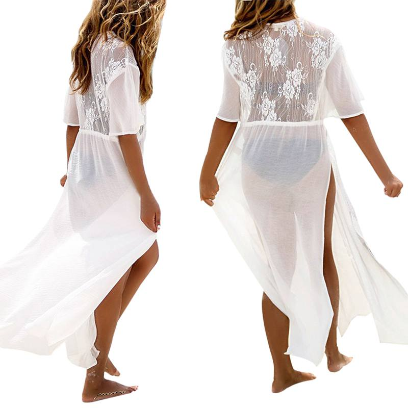 Sexy Women Floral Embroidery Beach Lace Cover Up Robe De Plage Beach Cardigan Bathing Suit