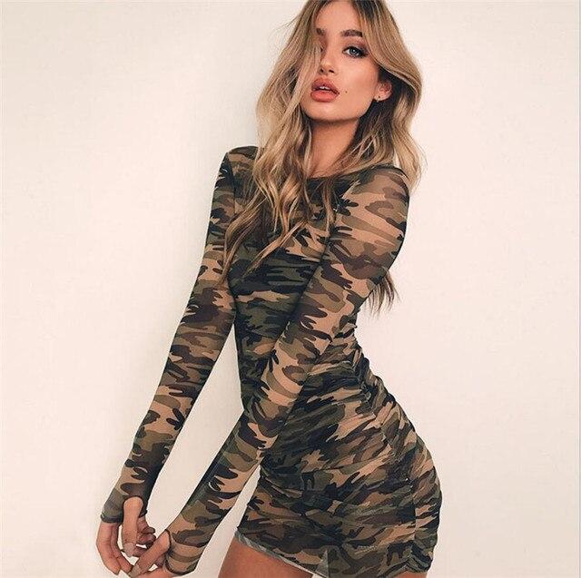 f01355c07e4be New Summer Sexy Women O-neck Long Sleeve Bandage Bodycon Mesh Dress Camouflage  Print Slim Skinny Causal Draped Short Mini Dress