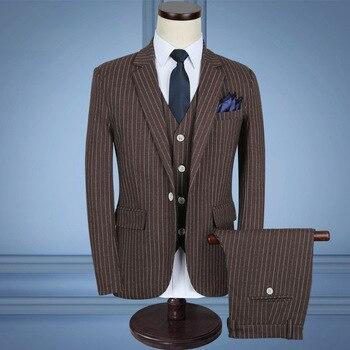 Men's suit men's spring and autumn new business casual striped suit three-piece suit (jacket + pants + vest) men's banquet dress