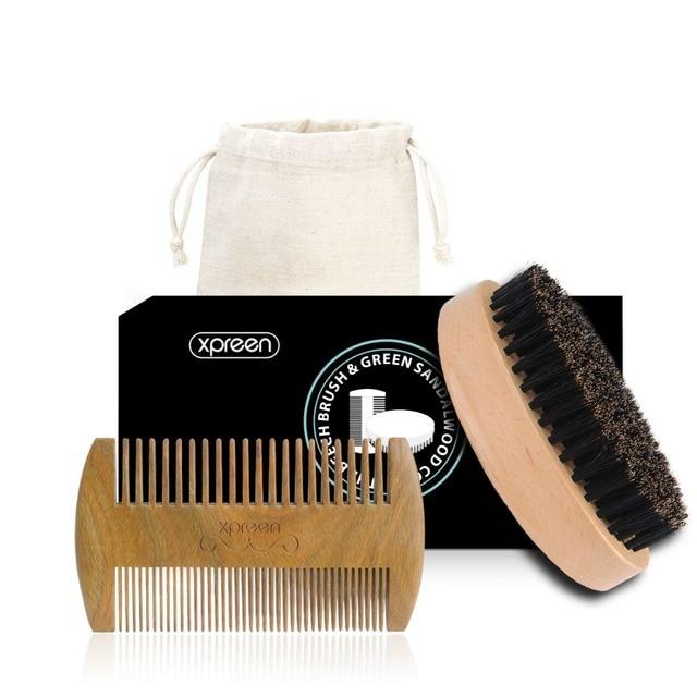 Xpreen Comb 100% Handmade Green Sandal Wood Hair Brush Set Comb Pure Real Wood Bristle Brush kit for Beard, Hair Mustache