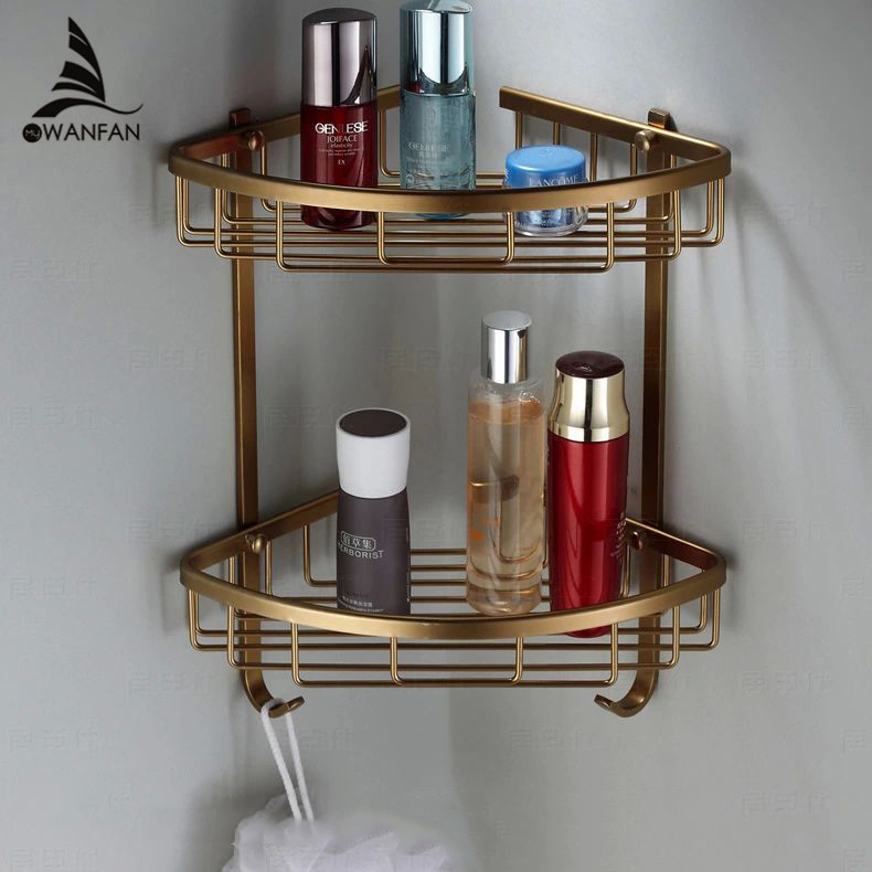 Wall Mounted Antique Finish New Aluminum Bathroom Shower Shampoo Shelf Triangle Basket Holder Fashion Double Layer Mj 7011