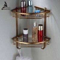 Oferta Estantes de baño de 2 capas, estante de esquina de ducha de Metal antiguo, estante de almacenamiento de champú de montaje en pared, soporte de cesta de baño MJ-7011