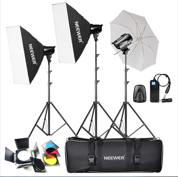 Neewer 540W(180W x 3) PhotographyStudio Flash Strobe Light Lighting Kit for Portrait Photography,Studio and Video Shoots(T-180B) jinbei 250w photo studio strobe flash light softbox lighting kit with carrying bag for portrait product and video shoots no00dc
