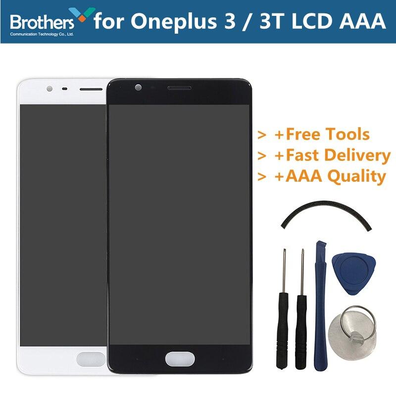 LCD Écran D'affichage pour Oneplus 3 3 t Tactile Écran pour Oneplus 3 3 t A3000 Avec Cadre Lcd Digitizer téléphone assemblée Pièce De Rechange