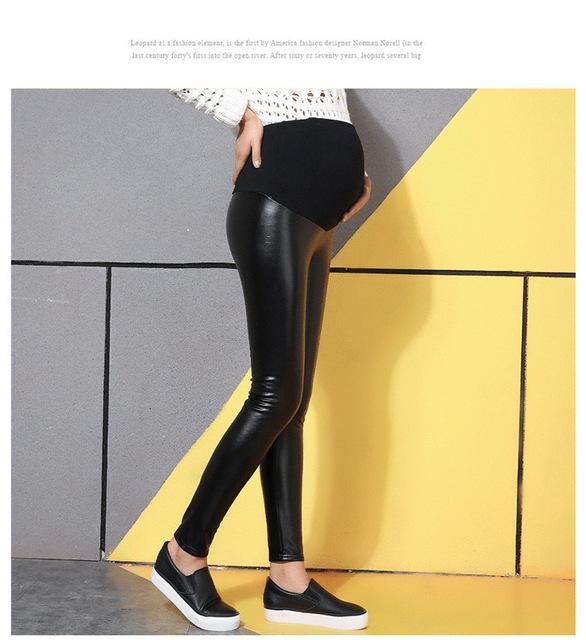 Grávida thight calças outono e inverno calças de couro PU grandes estaleiros leggings além de veludo mais grossas calças barriga Maternidade