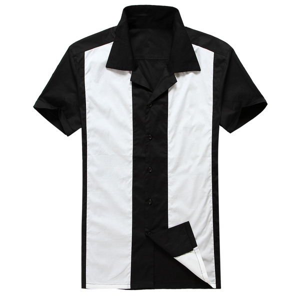 1bea0cad14 Rockabilly shirt man s retro vintage style clothing sleeves top cotton  black 50s 60s mens shirts hot rod 50 s design american