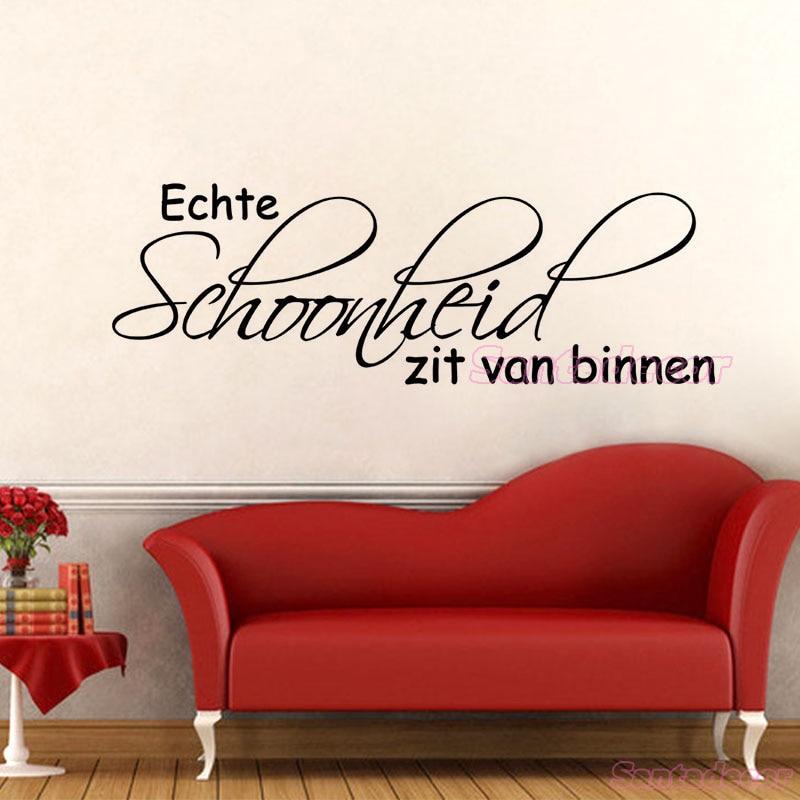 Muursticker Echte Schoonheid Zit Van Binnen Vinyl Wall Art Decals Wallpaper for Living Room Home Decor Poster Decoration in Wall Stickers from Home Garden