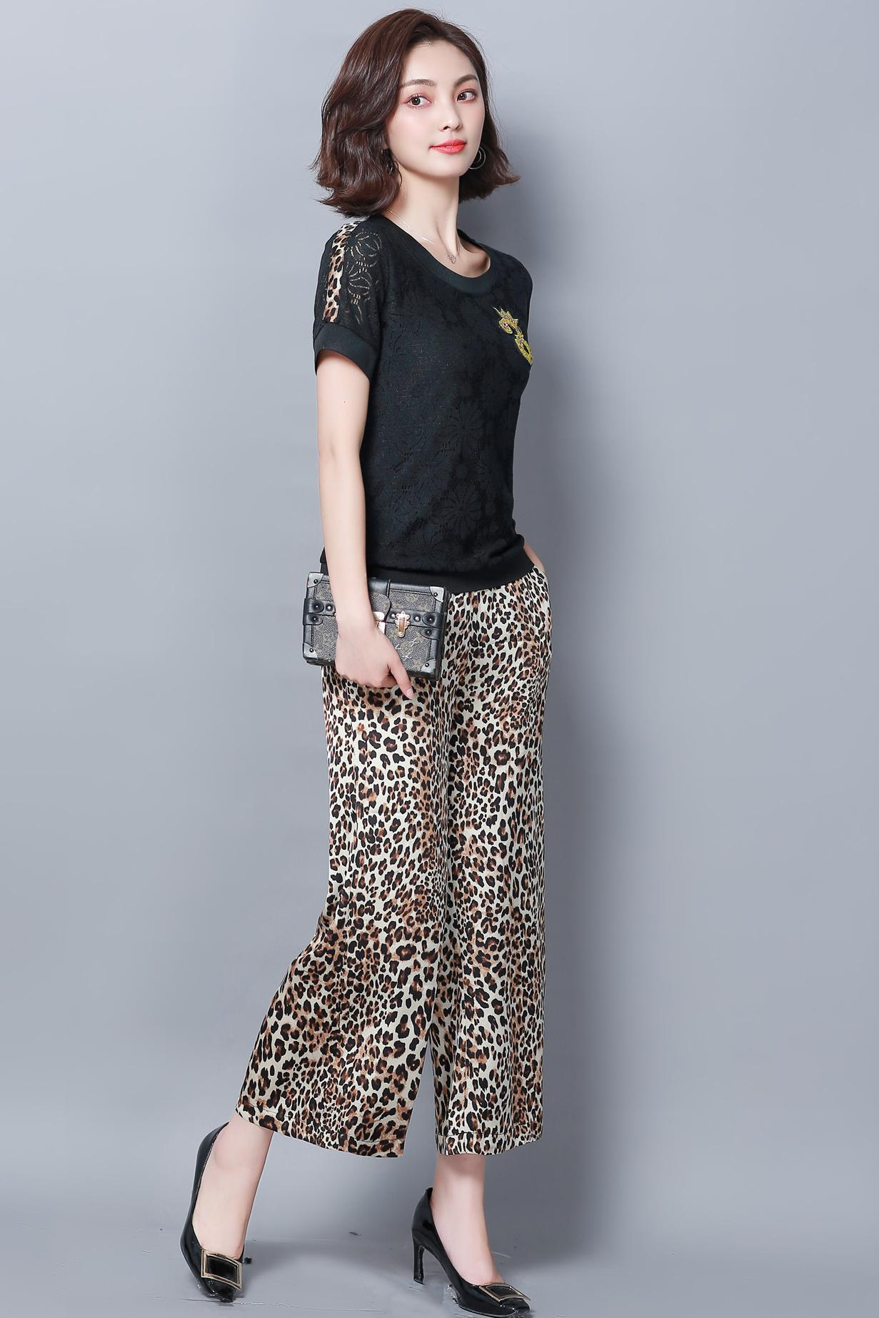 Summer Black Two Piece Sets Women Plus Size Short Sleeve Lace Tops And Leopard Print Wide Leg Pants Suits Casual Office M-5xl 30