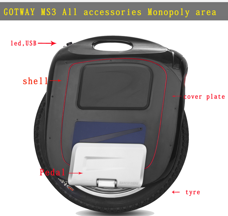 GotWay Msuper3 Electric Unicycle,All Original Accessories,18inch,Motor, Controller,Housings, Battery Panels, LED Headlights