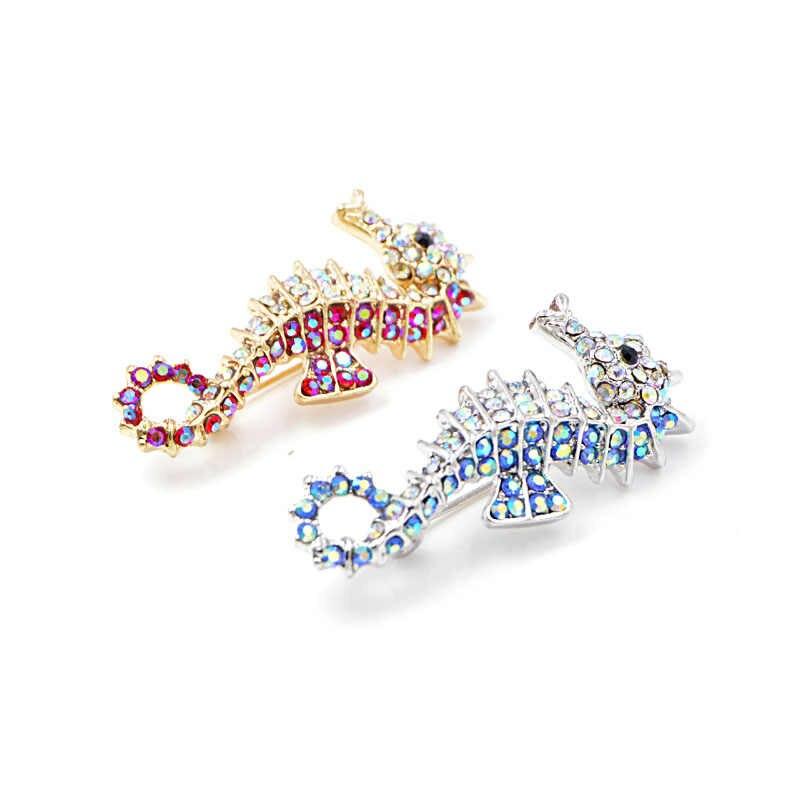 Cindy Xiang Rhinestone Kuda Laut Bros 2 Warna Tersedia Laut Lucu Hewan Bros Anak Wanita Pria Perhiasan Berkualitas Tinggi Hadiah