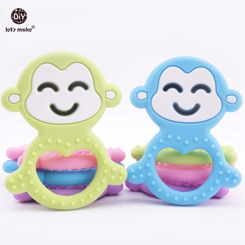 Let's Make Baby Teether 20pc Monkey DIY Teething Necklace BPA Free Baby Play Gym Accessories Charms Food Grade Silicone Teether