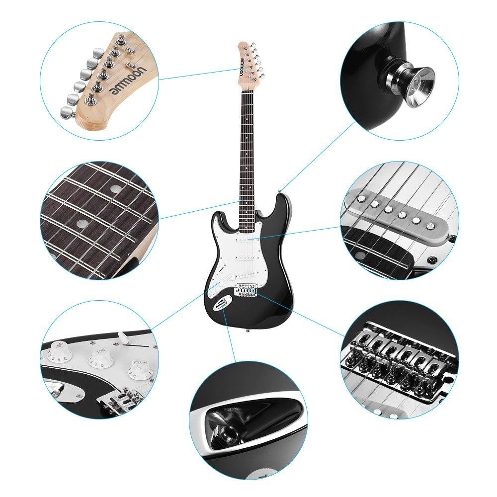 Ammoon Guitarra Eléctrica 21 trapos 6 cuerdas Paulownia cuerpo Arce cuello madera maciza con altavoz Pitch Pipe guitarra bolsa Correa derecha - 2