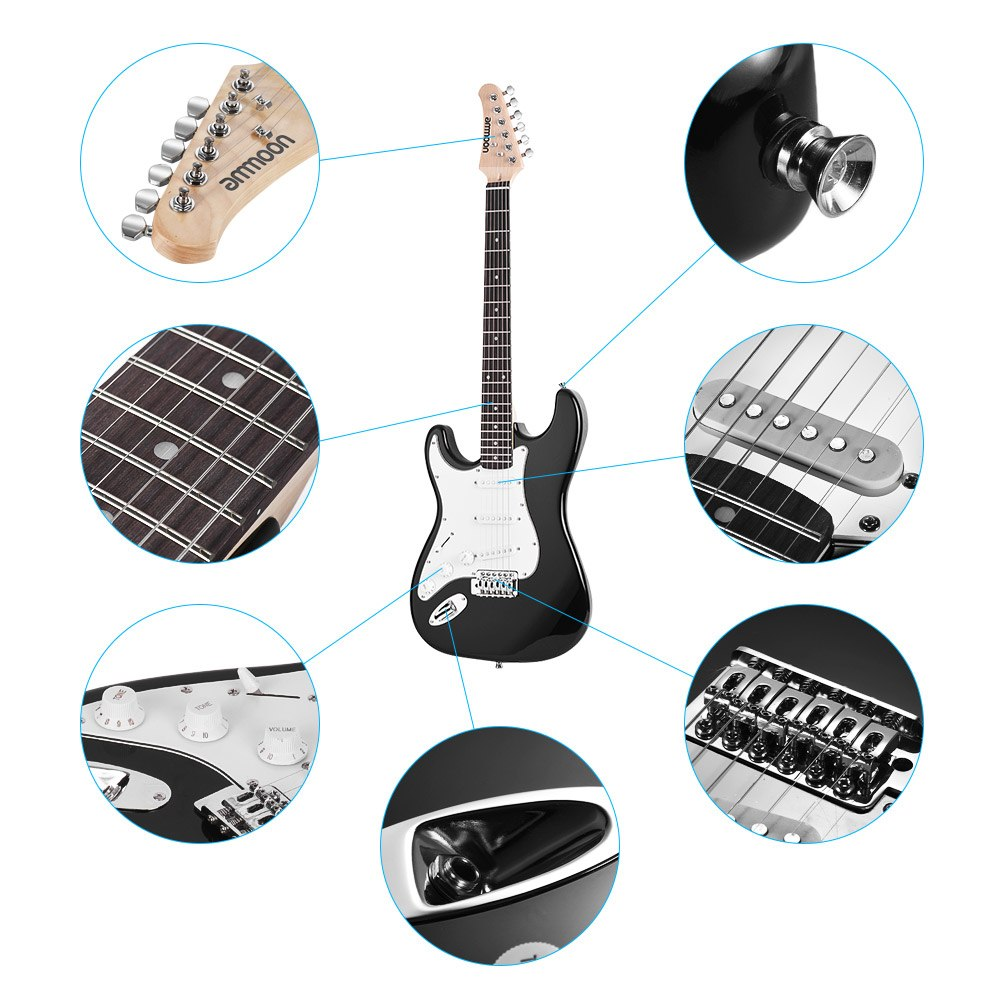 Ammoon guitare électrique 21 frettes 6 cordes Paulownia corps manche érable bois massif avec haut-parleur Pitch Pipe guitare sac sangle droite - 2