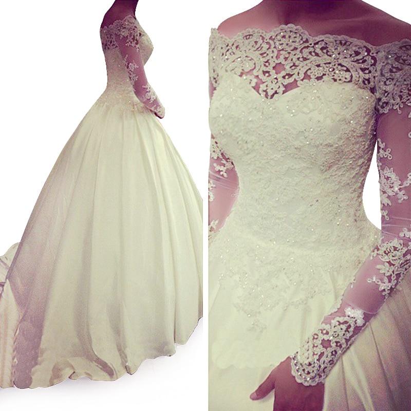vestidos de novia 2017 de la vendimia vestidos de manga larga de una