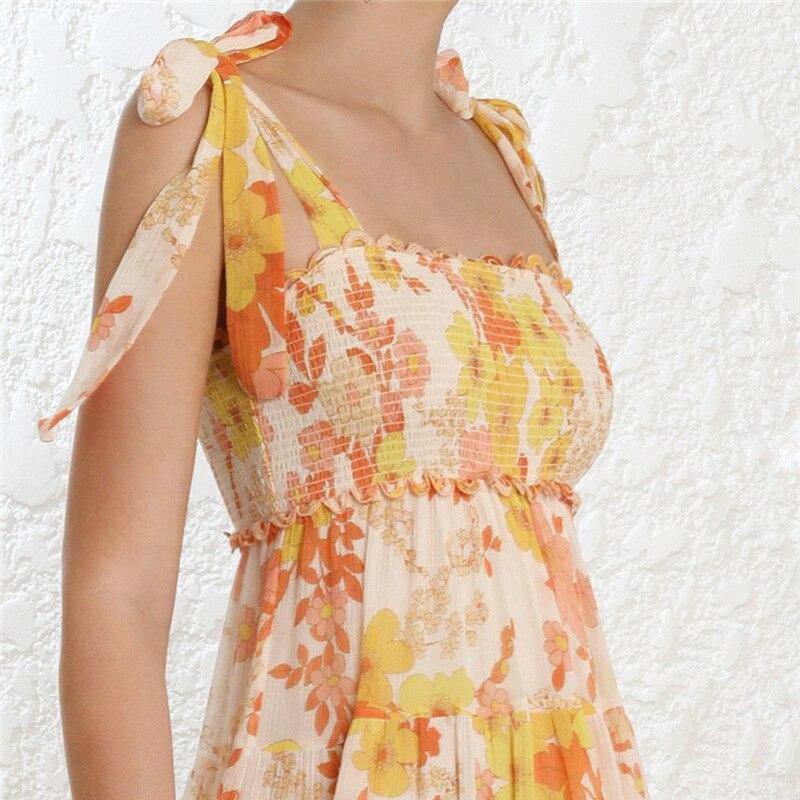 Floral impressão feminina vestido de praia para o mar com arco sem mangas cinta elástica cintura fora do ombro vestidos midi feminino verão 2019 - 5