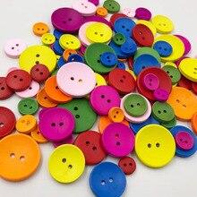 50 шт. 2 отверстия смешанный размер деревянные кнопки для рукоделия круглые пуговицы для шитья скрапбукинга DIY аксессуары для украшения дома WB533