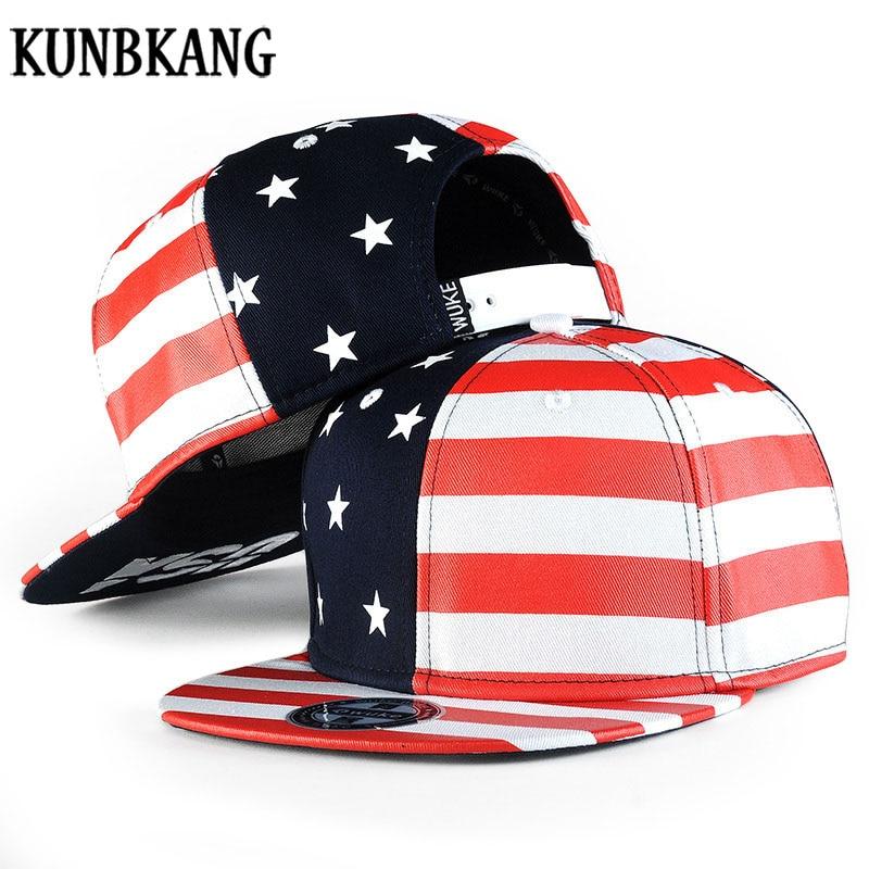 US $7 92 35% OFF|New Cool Hip Hop Cap Men Women USA Flag Hat Vintage Star  Striped Baseball Cap Black Red Color Gorras Flat Bill Snapback Hat Bone-in