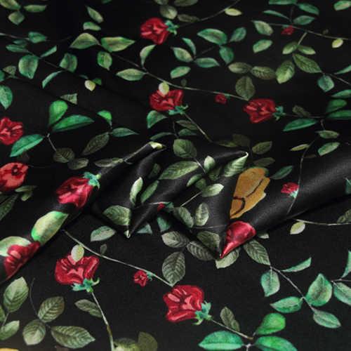 Цифровой струйный стрейч шелк атлас Ткань фрукты цветок платье шелк ткань Атлас натуральный шелковая ткань материал оптовая продажа шелковая ткань