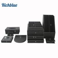9Pcs /Set File Stationery Desk Organizer Pen Holder Box Mouse Pad Writing Pad Wood PU Leather T89