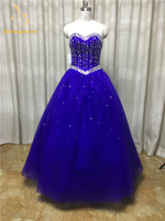Bealegantom Royal Blue Ball Gown Tulle Quinceanera Dresses 2017 Beaded Crystals Sweet 16 Dress For 15