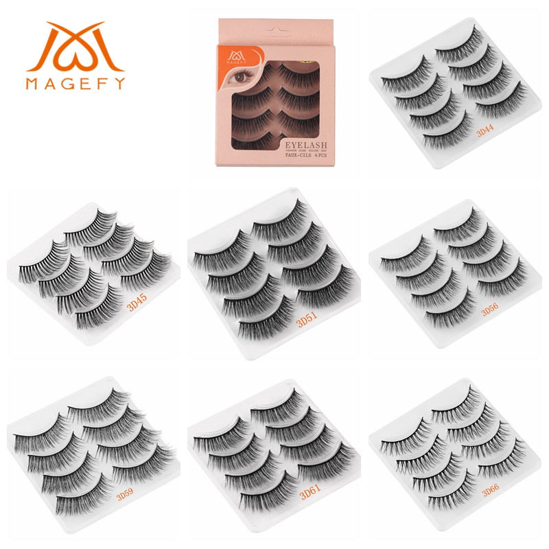 MAGEFY 4 Pairs Natural Long Fake Eyelashes Real 3D Mink Hair Handmade Eyelashes Extension False Eyelash Makeup Tools 15 Style(China)