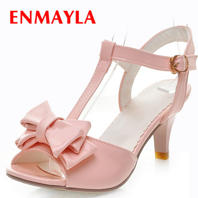 57768a1ea7f9 Pink New Simple Style Thick Soles Square High-heel Women Sandals T-strap  Sweet Bowtie Women Party Shoes Women New Summer Shoes