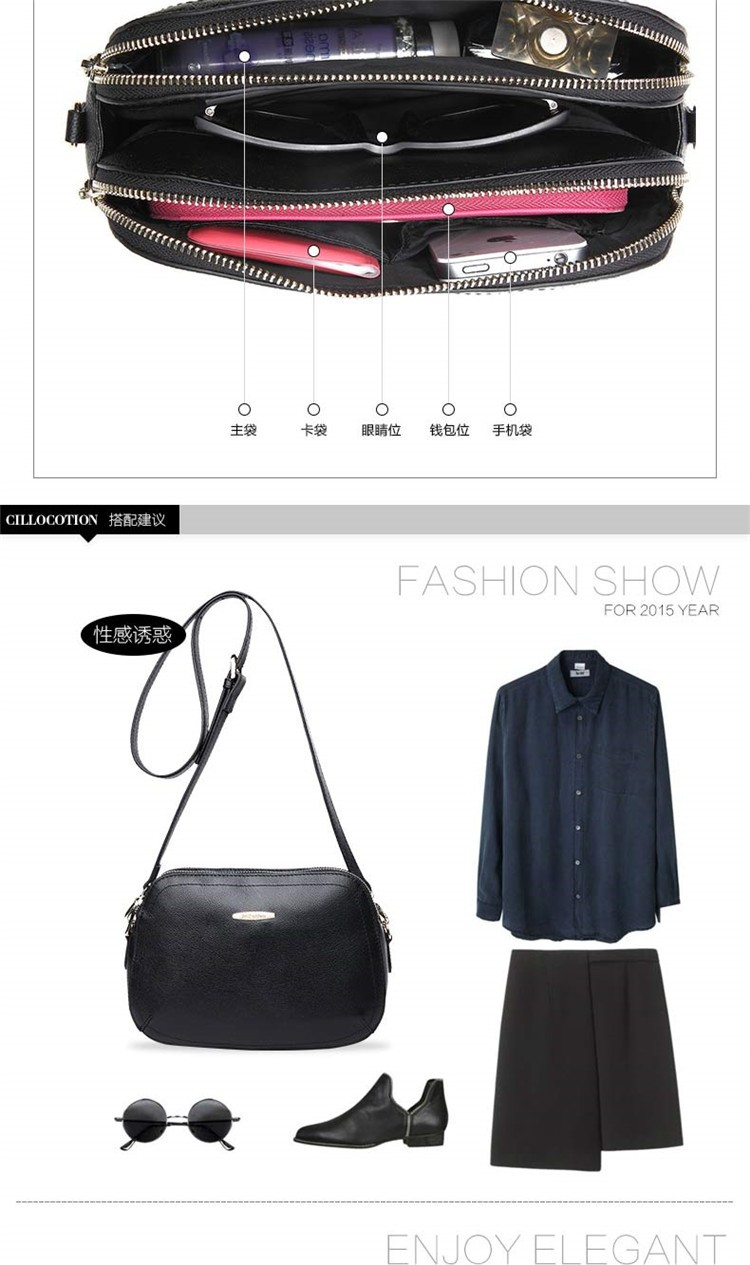 New 2015 Fashion Women Genuine Leather Messenger Bag Shoulder Bags Crossbody  Bolsos Carteras Mujer Marca Handbags Famous Brands19