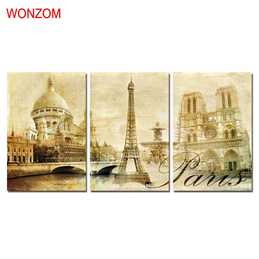 WONZOM HD Printed Paris Scenic Spots Wall Picture Framed Directly To Hang For Living Room Large Modern Cuadros Decoracion 2017