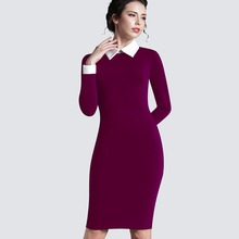 plus size women clothing vintage red black women business office short sleeve casual Bodycon winter Dress Pencil 751