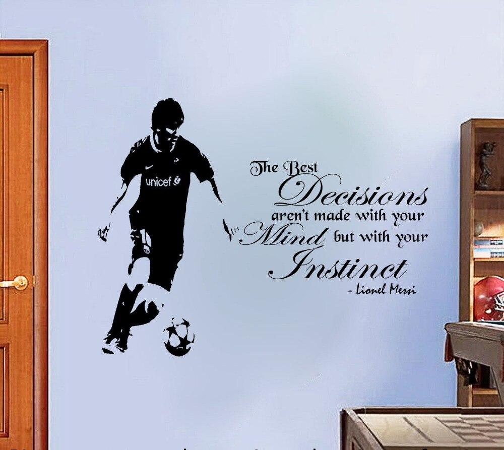 Lionel messi Citaat Voetbal Muursticker Decal Decor Voetbal Speler DIY Gift de beste beslissingen citaat decal