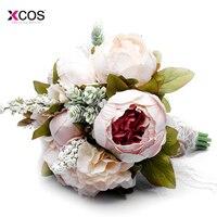 Countryside Style Artificial Wedding Bouquet For Brides Garden Lace Wedding Flowers Brooch Bouquets Bouquet De Mariage