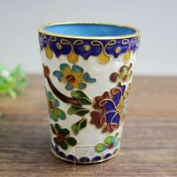 Genuine antiques Crafts copper Enamel Cloisonne filigree glass cup glass ornaments to pieces