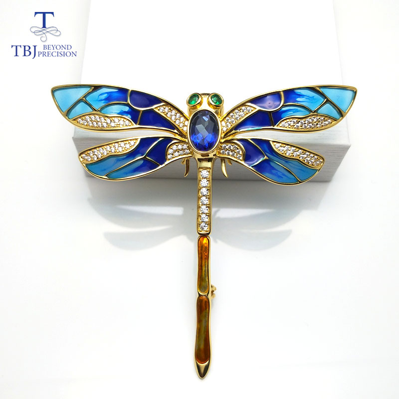 TBJ,dragonfly design brooch with natural coated blue topaz in 925 sterling silver yellow gold color,elegant brooch for women chic faux gem inlay dragonfly shape brooch for women