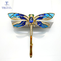 TBJ,dragonfly design brooch with natural coated blue topaz in 925 sterling silver yellow gold color,elegant brooch for women