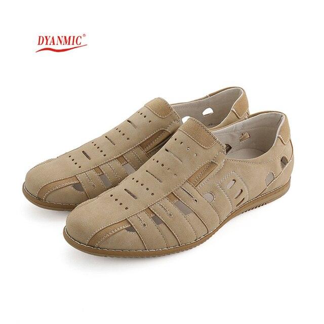 079ccb60d1d1 DYANMIC Original Designer Men s Sandals Summer New Men Breathable Cut-Out Beach  Shoes With Cow