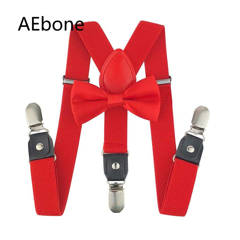 AEbone Red Pink Suspenders Girls Baby Boys Bow Ties Suspenders For Pants Leather Red Bowtie Braces Children Wedding Party Sus41