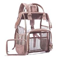 Fashion Transparent Waterproof Backpacks Clear Pvc Zipper School Bags For Teenage Girls Travel Bag