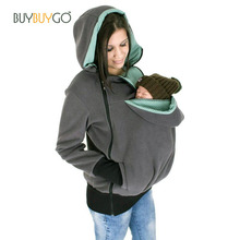 Babywearing kangaroo carrier sweatshirts hoodies solid zipper jacket coat pregnant cotton