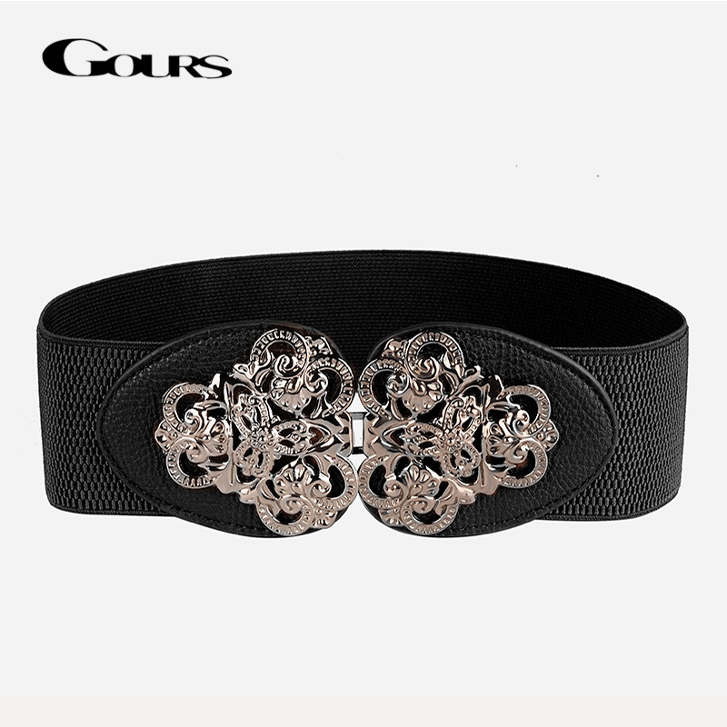 Gours Dress Cummerbunds For Women PU Leather Waist Belts Wide Elastic Girdle Strap Fashion Bohemian Style New Arrival PDL052