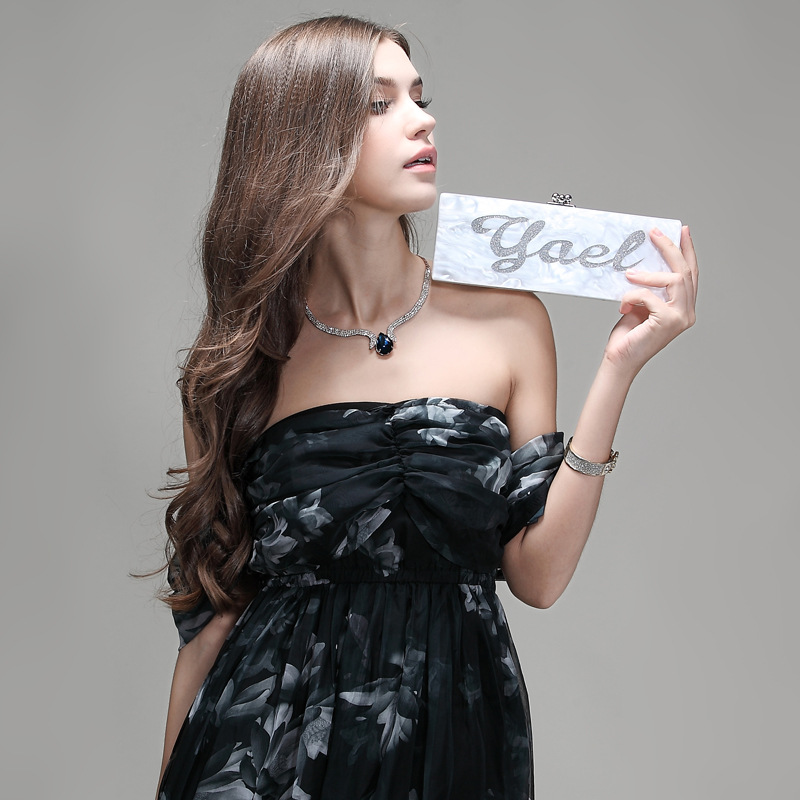 Handmade Bling Acrylic Clutch Custom Name Clutch Evening Bags Wedding Bridesmaid Handbag Different Colours Available