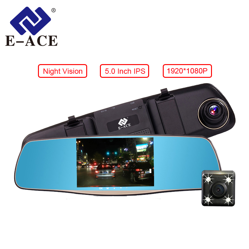 E-ACE Autocamera 5 Inch DVR's met Dual Camera Lens Full HD 1080P 30FPS Video-intrekking Achteruitkijkspiegel Dashcam Nachtzicht