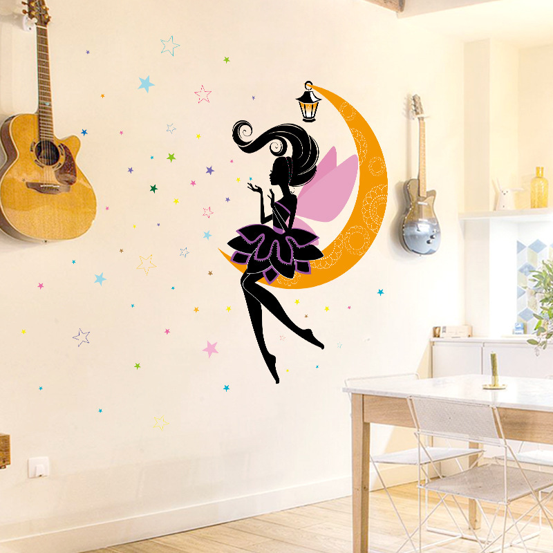 Moon Fairy Star Wall Sticker Childrens Bedroom Kids Rooms Cartoon PVC Art Background Home Decor Stickers Muraux