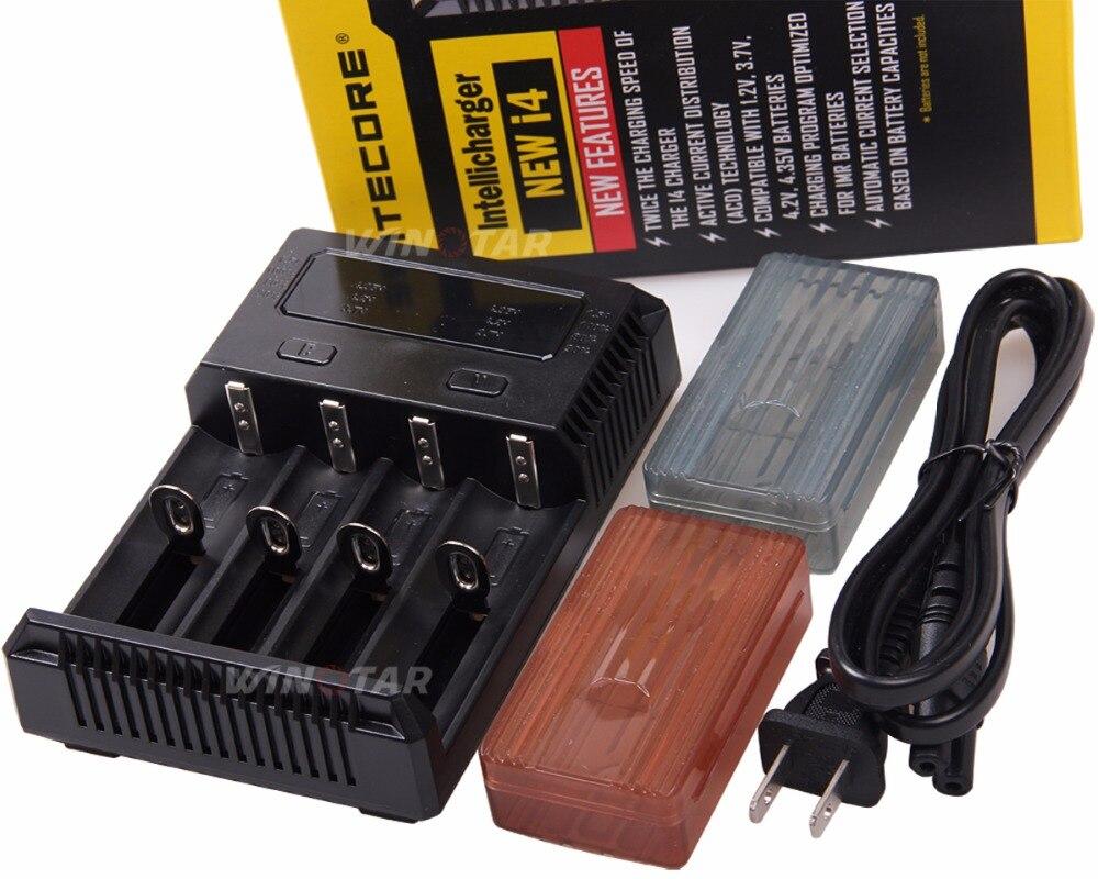 Оригинал <font><b>Nitecore</b></font> <font><b>I4</b></font> Батарея Зарядное устройство 18650 14500 16340 26650 ЖК-дисплей литий-ионный Зарядное устройство 12 В Вход Чаринг для AA AAA батареи