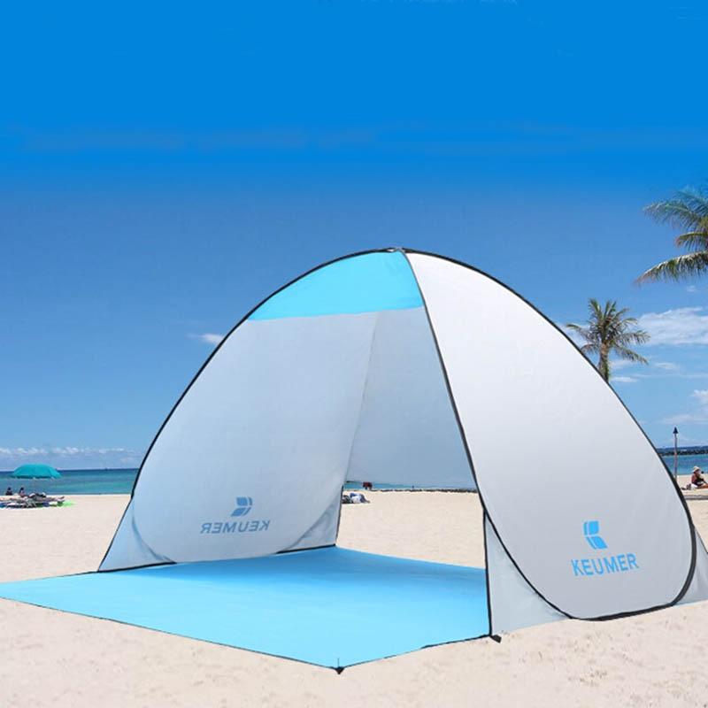 Été en plein air Plage Tente UV Protection Automatique Pop up Cabana Soleil Abri pour 1 2 Personne Camping Pêche Pique niques dans Abri du soleil de Sports et loisirs