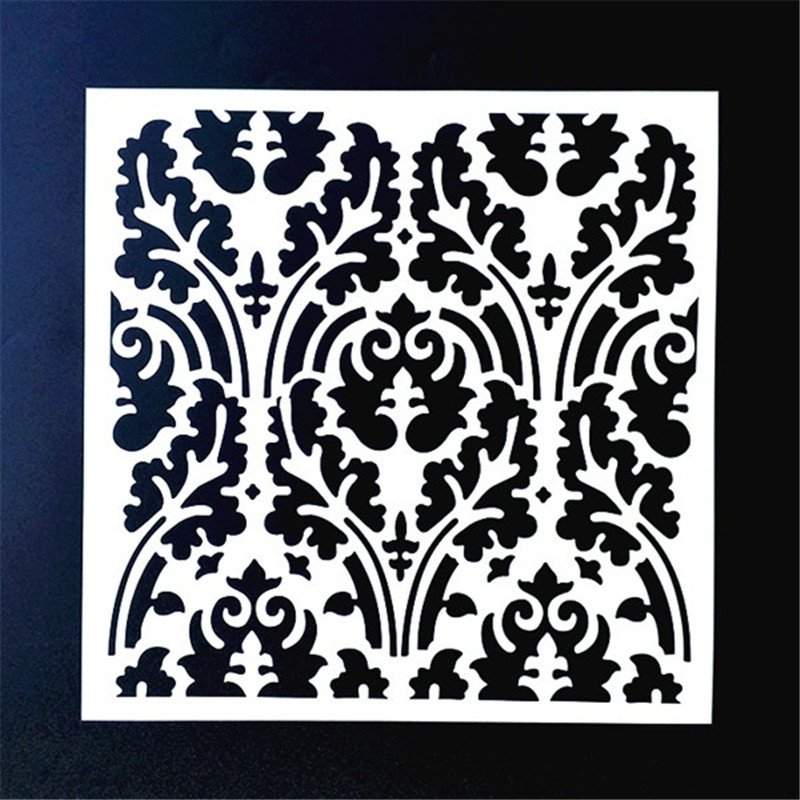 20*20cm DIY Painting Vintage Floral Design Art Stencil Template For Tile Floor Furniture Fabric Painting Decorative