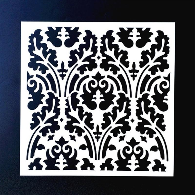 20*20cm DIY Painting Vintage Floral Design Art Stencil Template For Tile Floor Furniture Fabric Painting Decorative