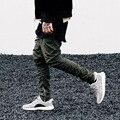 Calças feixe de Justin bieber magro ocasional Dos Hip Hop corredor pode abrir zipper corredor boca de calças